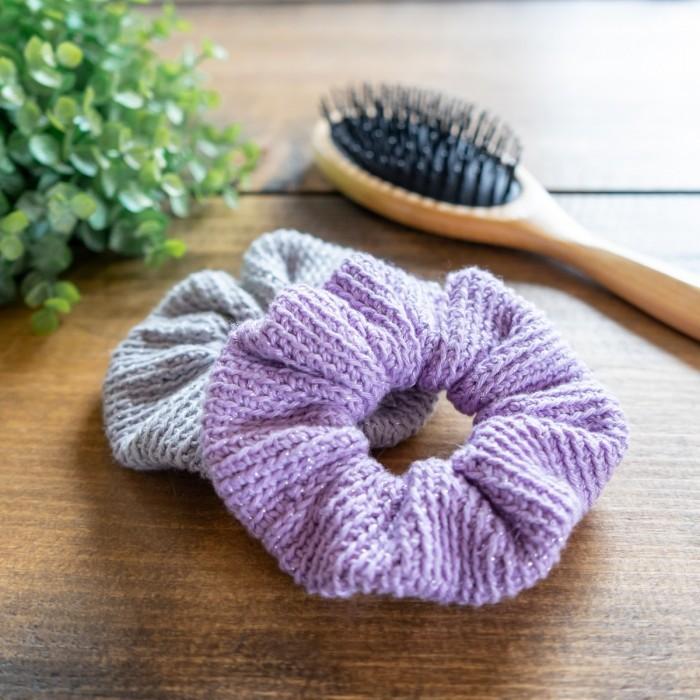 Lavender fluffy scrunchie  Glitter scrunchie