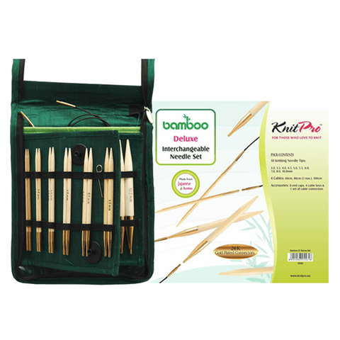 Bamboo Interchangeable Circular Needles Set - Deluxe Knitting Needles KnitPro