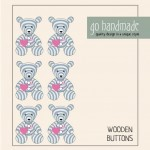 Wooden Buttons - The Teddy Camilla - 6 pcs.  Accessories Go Handmade