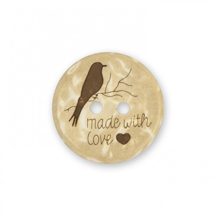 Wooden Button - Made with Love - 24mm Accessories Villy Jensen