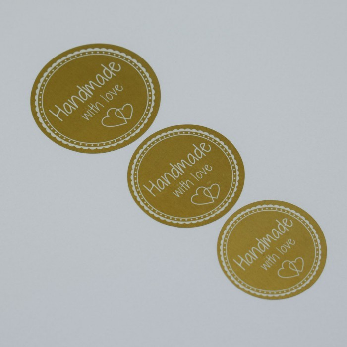 Runde Sticker - Handmade with love - Gold Zubehör & Kurzwaren Go Handmade