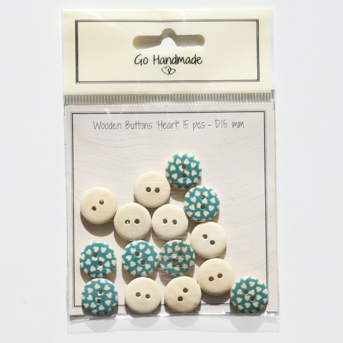 Wooden Buttons With Hearts - Blue Accessories Go Handmade