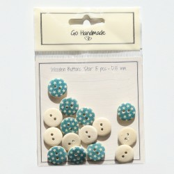 Wooden Buttons With Stars - Blue Accessories Go Handmade