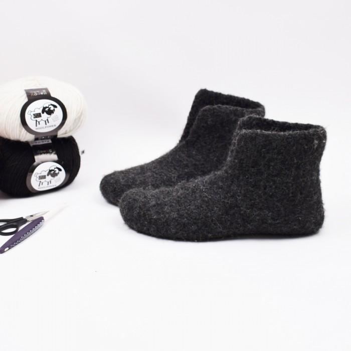 127cc73137adf Felted Slippers - Crochet | Patterns | Happy Sheep - Hobbii.com