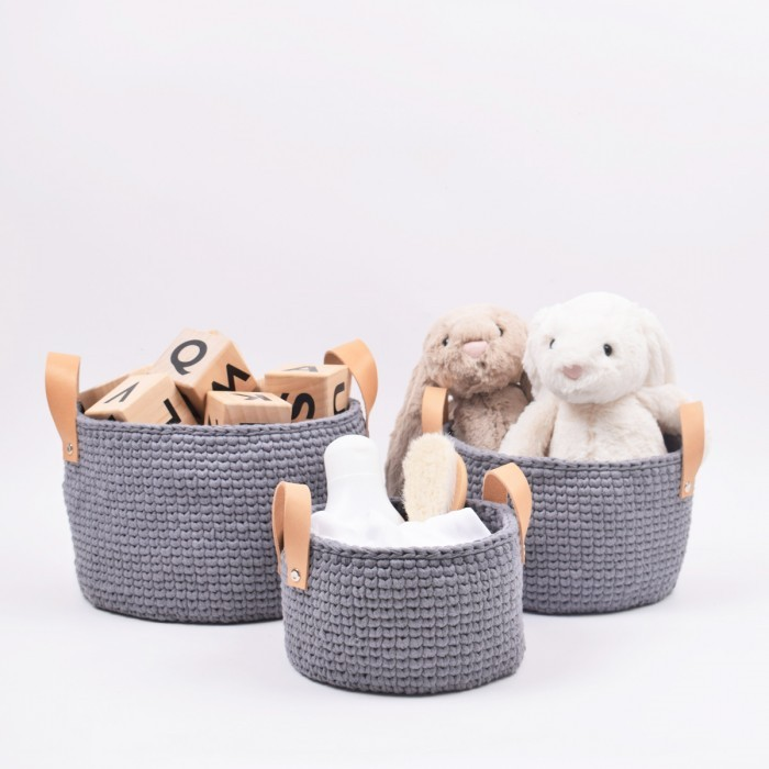 Ribbon baskets with leather straps in 3 sizes Patterns Hobbii