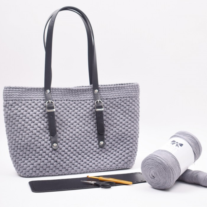 Shopper med læderbund Small