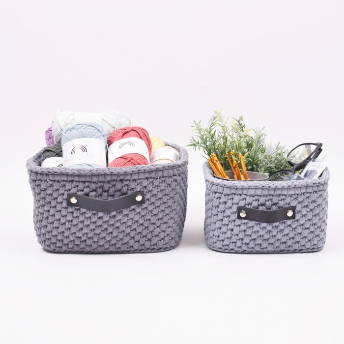 Storage basket with leather bottom - square - big Patterns Hobbii