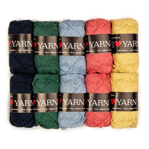 8/8 Baumwolle Mixpaket - 10 Knäuel Garn & Wolle We Love Yarn