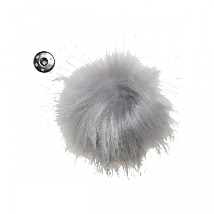 Pompom, grey, 4 inches (10 cm) Accessories Go Handmade