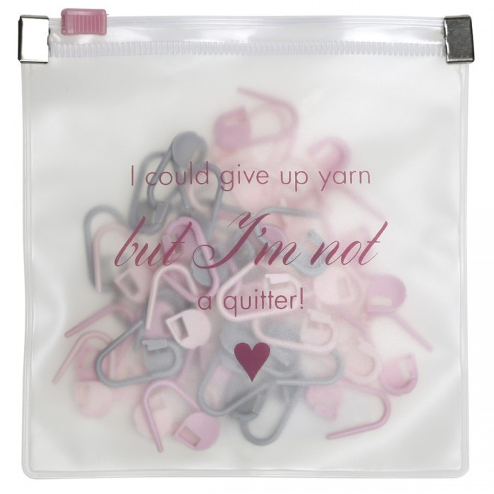 Steekmarkeerderset 'I could give up yarn but I'm not a quitter' Toebehoren Go Handmade