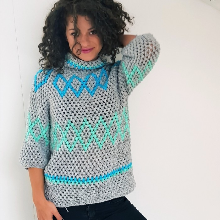 Diamonds Puff Sweater Patronen