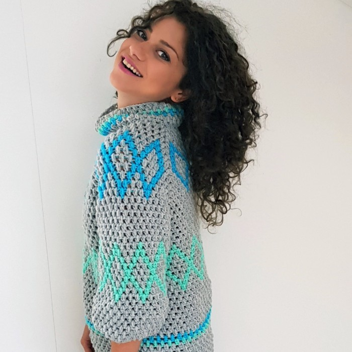 Diamonds Puff Sweater Mönster