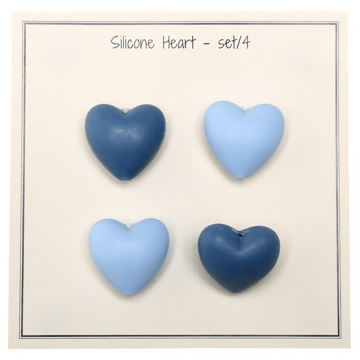 Silicone pearls in heart shape – 4 pcs Accessories Go Handmade