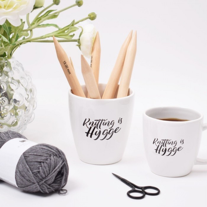"Coffee Cup with Handle ""Knitting is hygge"" Things you cannot do without Hobbii"