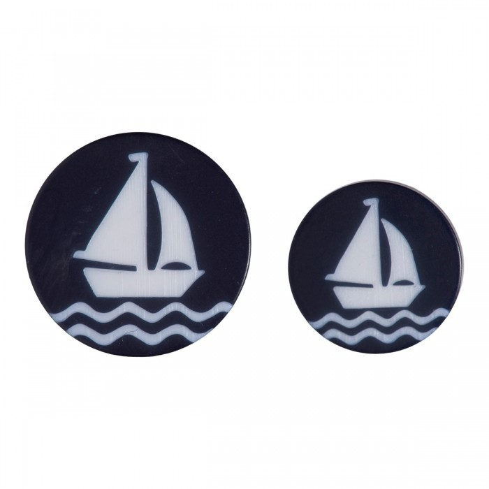 Polyester button w/ Sailboat, Blue, 11 & 15 mm Accessories