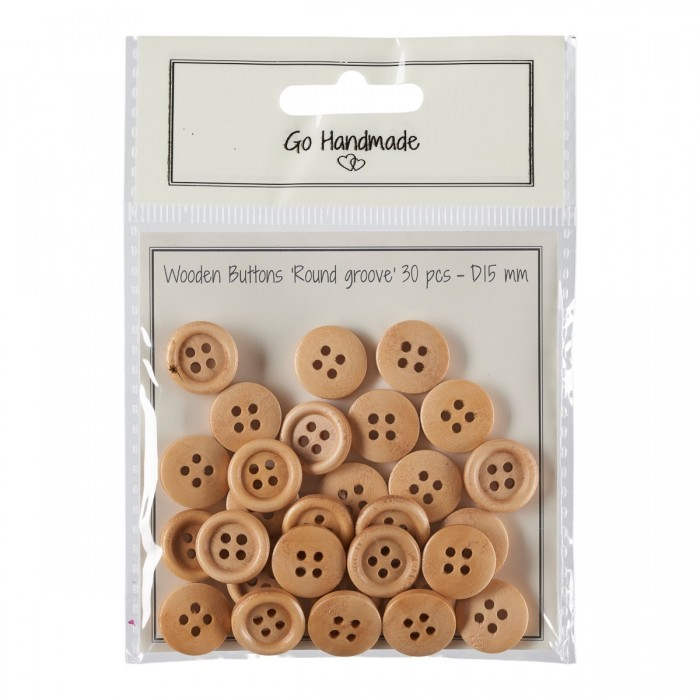 Wooden Buttons - Round Groove - Bright Accessories Go Handmade