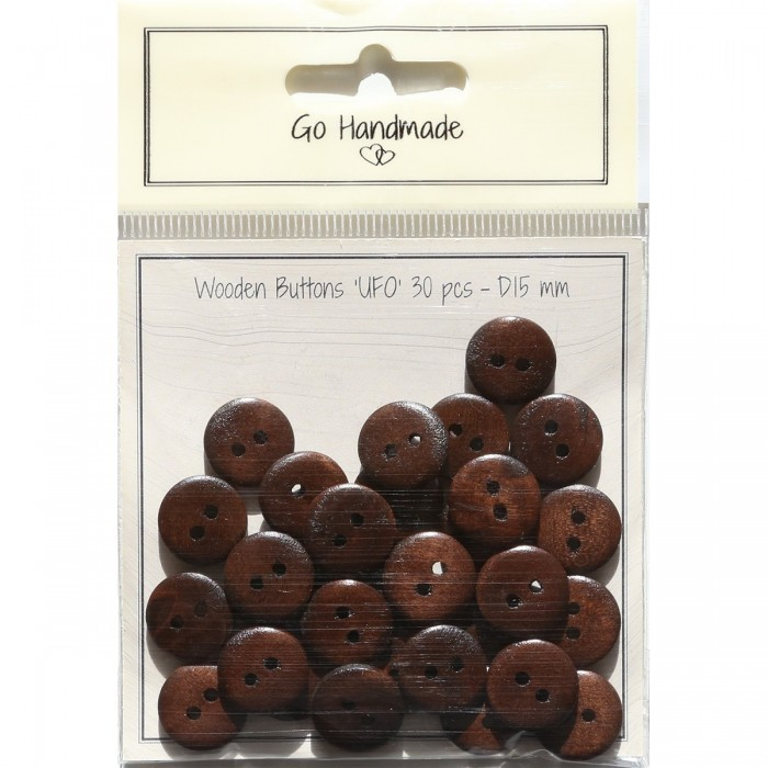Wooden Buttons UFO - Brown Accessories Go Handmade