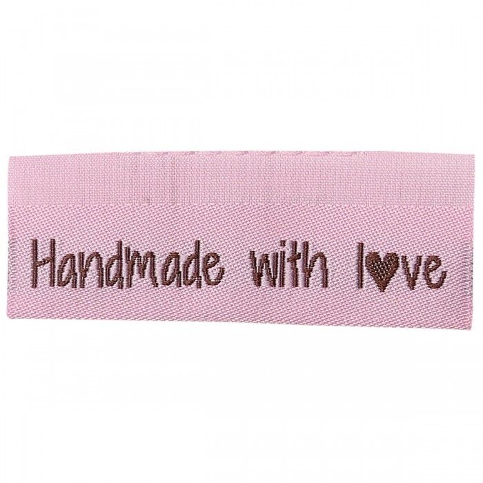 10 Labels - Handmade with love - 5 cm  Made By Etiketter Go Handmade