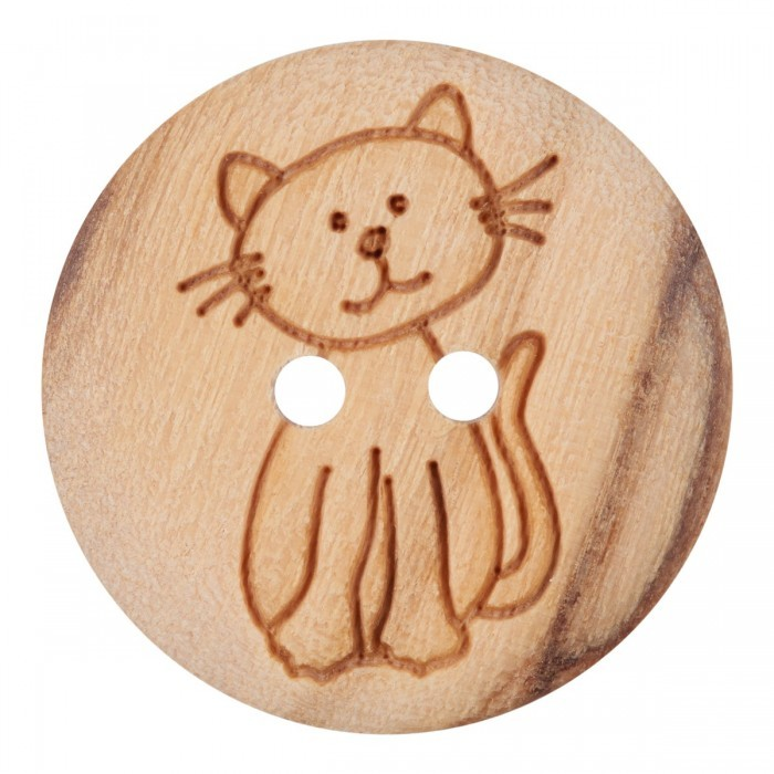 Wood Button with Cat, 0.6 Inches (15 mm) Buttons