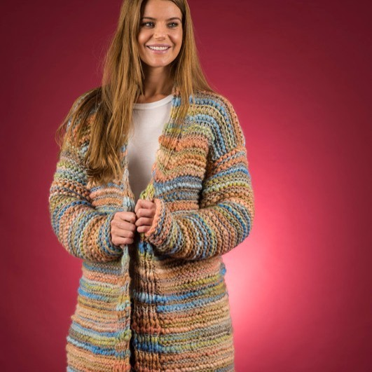 EK5 – open, lange jas – Mayflower Easy Knit. Patronen Mayflower