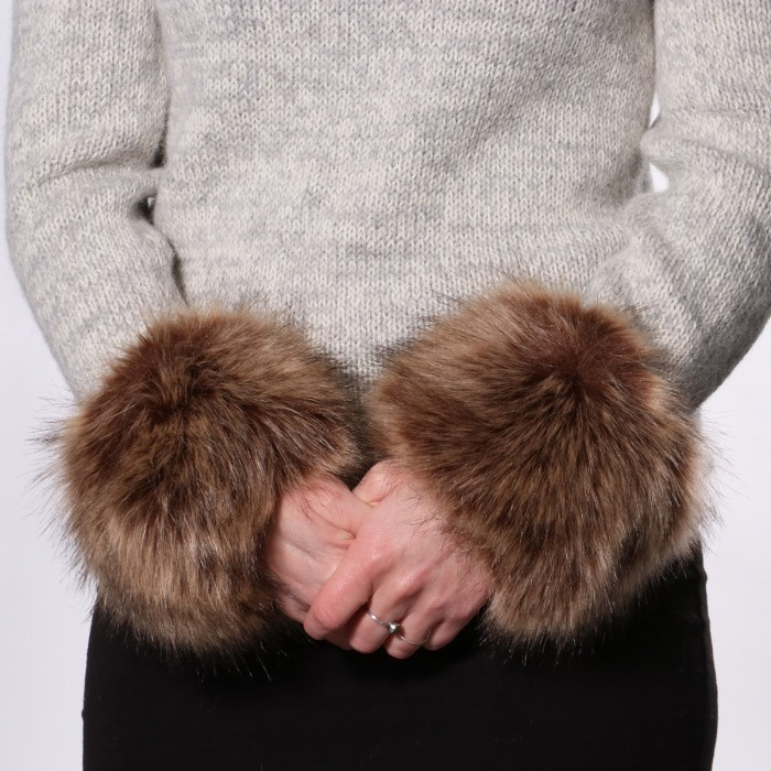 Fur detail for sleeves or wrists, color: nature Accessories