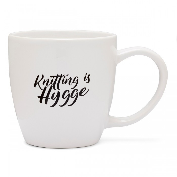 "Coffee Cup with Handle ""Knitting is hygge"" Things you can't live without Hobbii"
