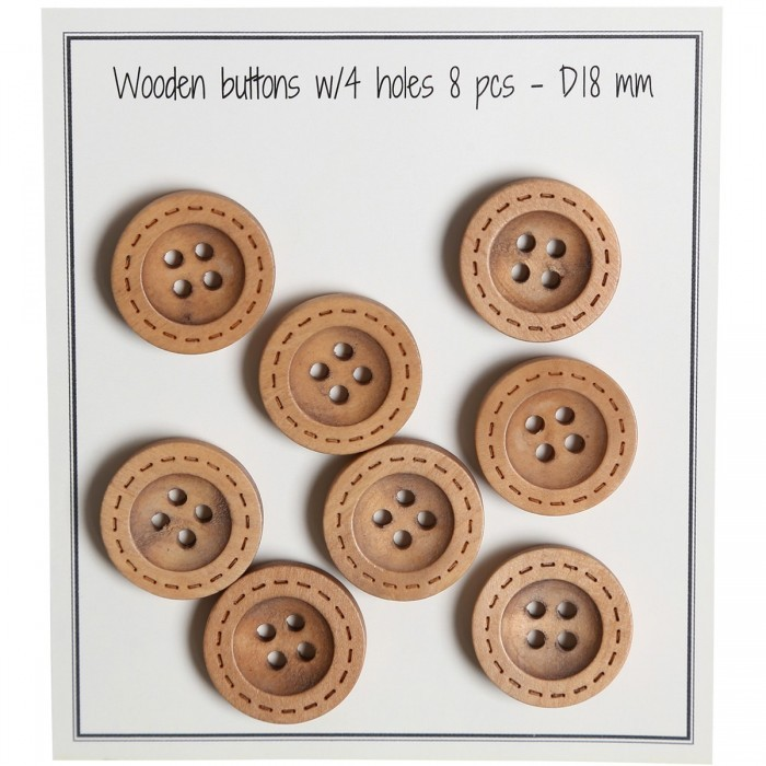 Wooden Buttons - Round Groove - Stitch Pattern - 8 pcs. Accessories Go Handmade