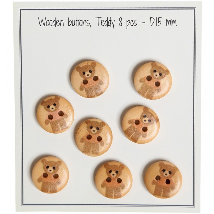 Boutons en bois - Teddy - 8 pièces Boutons Go Handmade