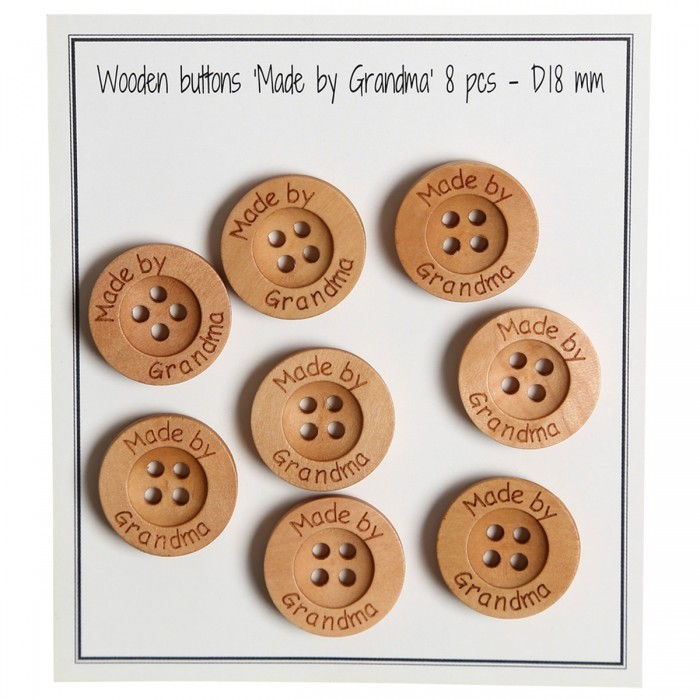 Wooden Buttons - Made by Grandma  - 18 mm (0.71 in) Accessories Go Handmade