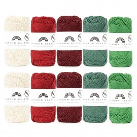 Rainbow Cotton 8/4 Glitter Color Bag - Christmas Edition Garn Hobbii