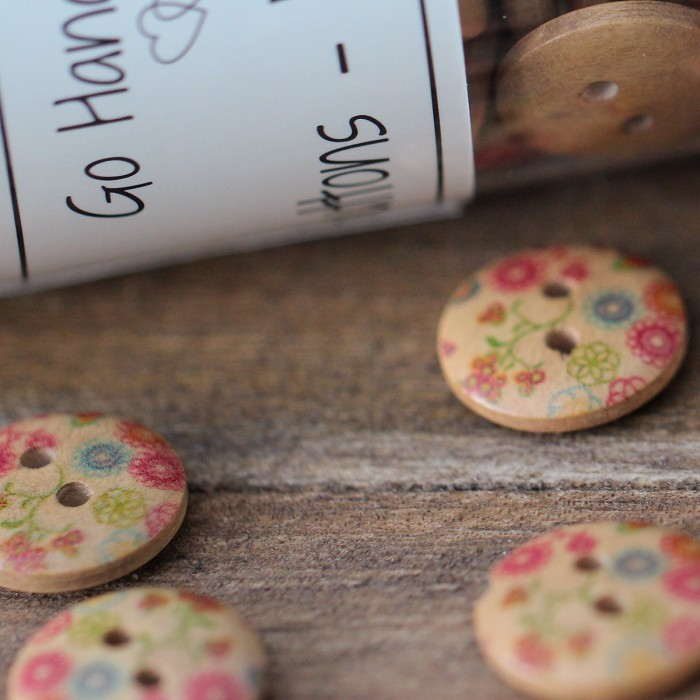 Mini Flower Buttons - 15 mm Accessories Go Handmade