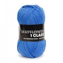 1713 – Witte lange mouw trui met brede blauwe strepen