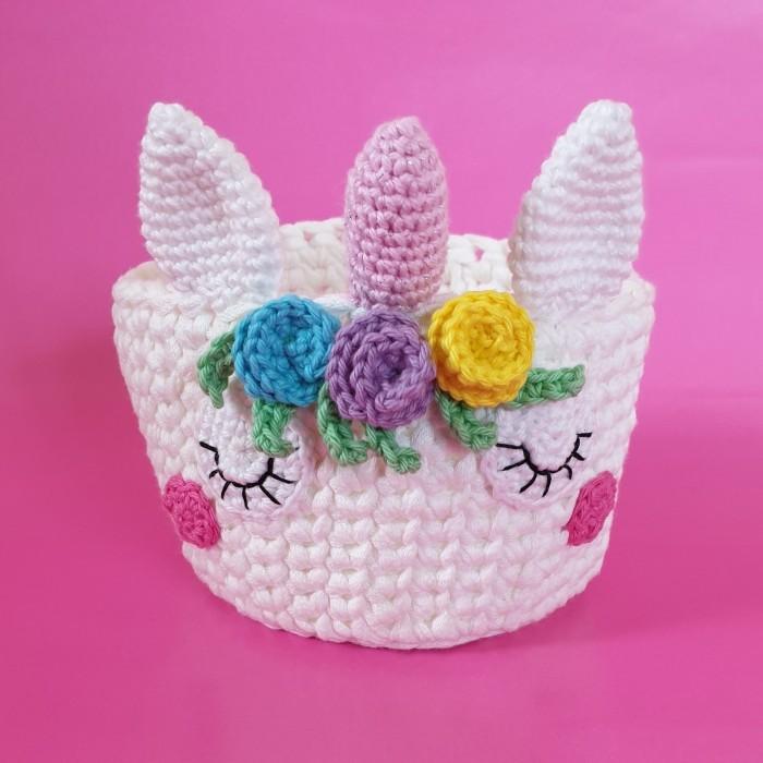 Unicorn crochet basket