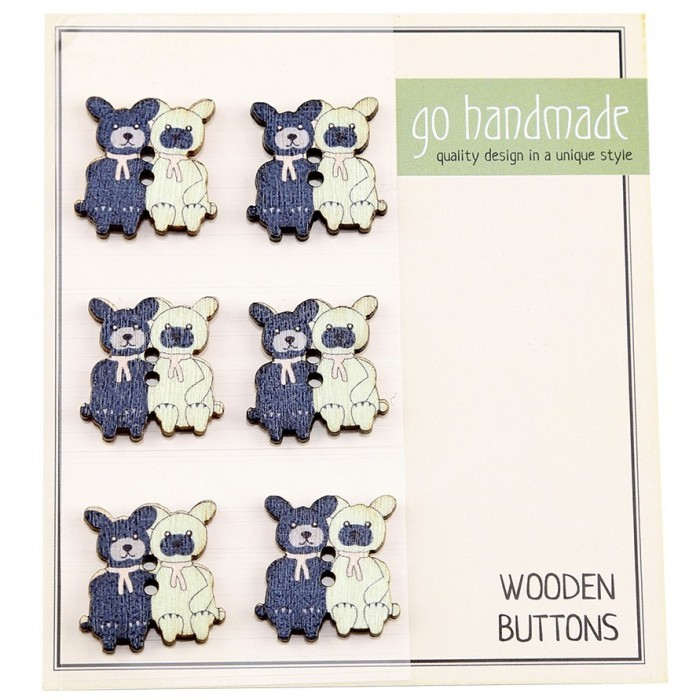 Wooden Buttons - The Cats Burt & Bart - 6 pcs, 20 mm Accessories Go Handmade