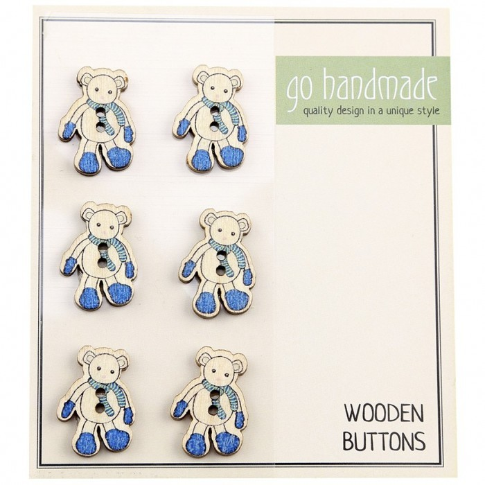Wooden Buttons - The Mouse Luis - 6 pcs, 20 mm  Accessories Go Handmade