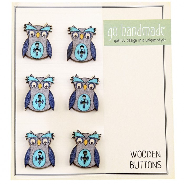 Wooden Buttons - The Owl Janus - 6 pcs, 20 mm Accessories Go Handmade