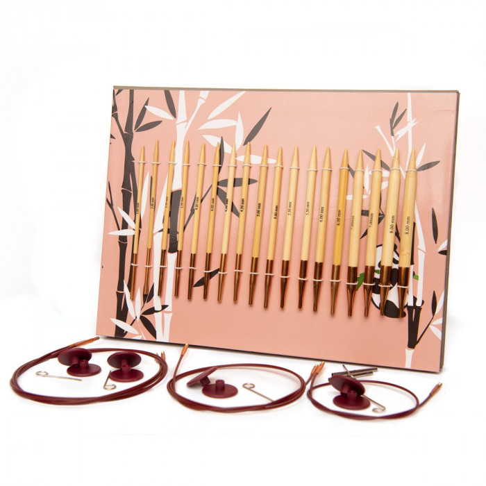 Bamboo Deluxe interchangeable circular needle set (sizes 2.5-11) (EU: 3-8mm) Knitting Needles Hobbii
