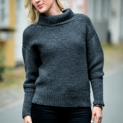1495 - Sweater med Brede Ribkanter