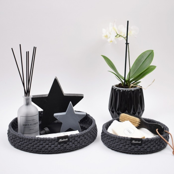 Decoration trays with round leather base Patterns