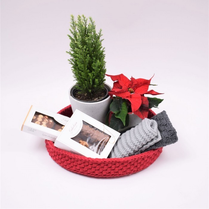 Decoration trays with round leather base - Christmas Patterns