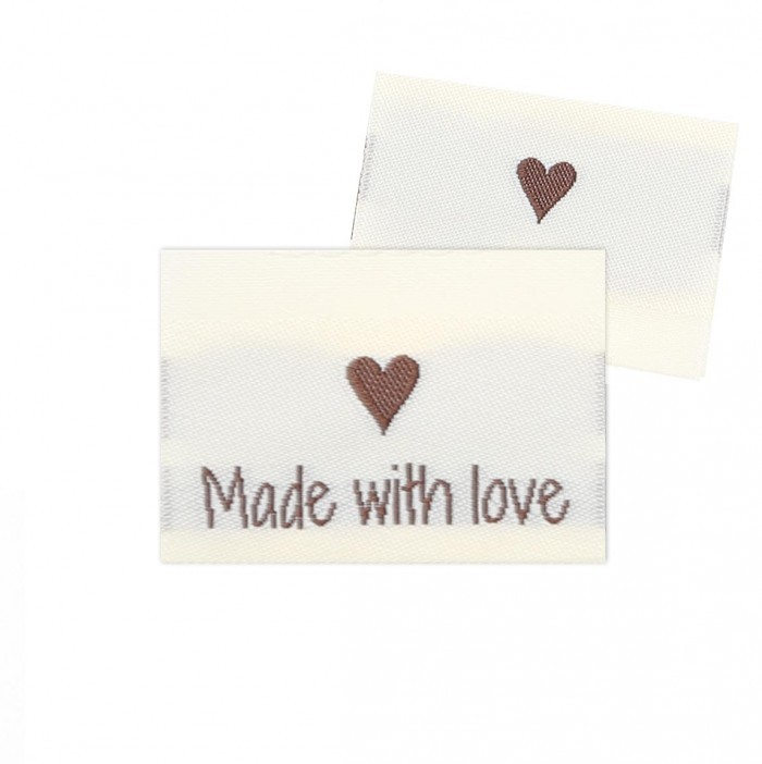 10 Labels - Made with love - 1 Herz - 3.5 cm Zubehör & Kurzwaren Go Handmade