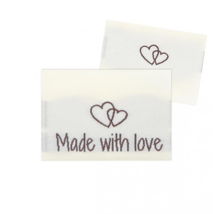 10 Labels - Made with love - 2 Herzen - 3.5 cm Zubehör & Kurzwaren Go Handmade