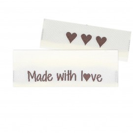 10 Labels - Made with love - 5 cm  Tilbehør Go Handmade