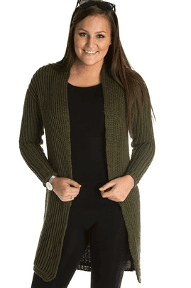 1526 - Lång patentstickad cardigan Mönster Mayflower