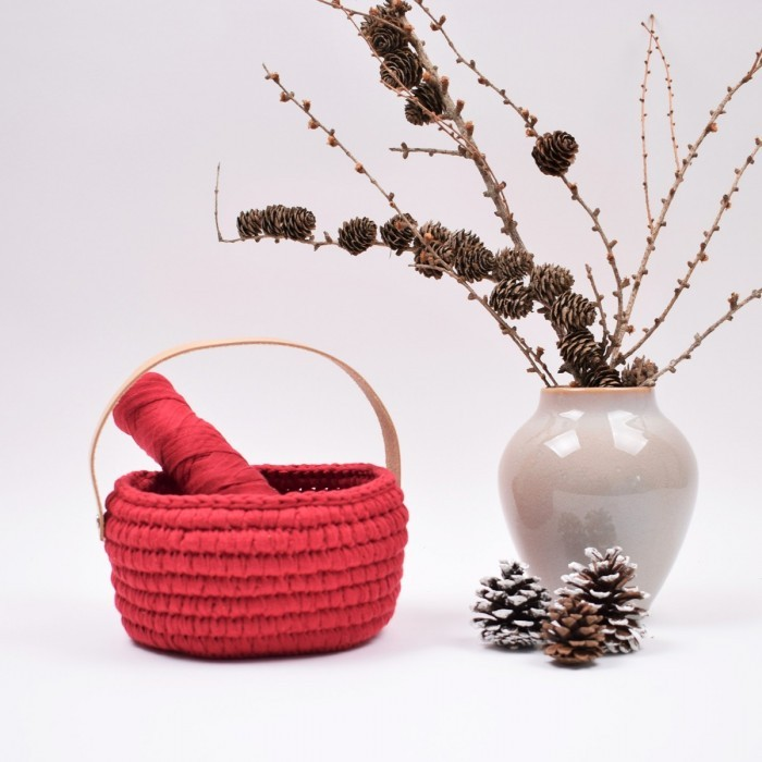 Ribbon Christmas Basket with leather handle   Patterns