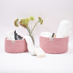 Ribbon Baskets with round leather base – Knit Stitch Patterns