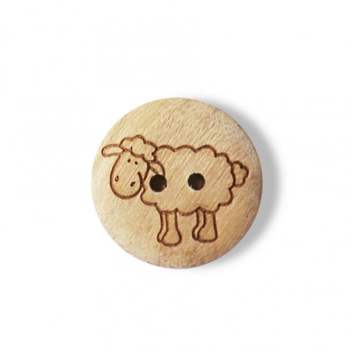 Wood Button with Sheep, 0.6 Inches (15 mm) Accessories