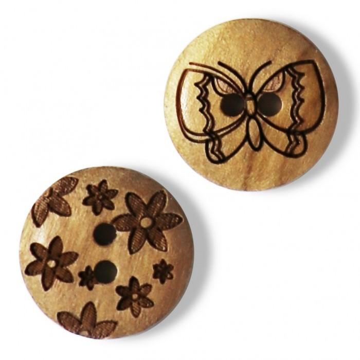 Wood Button, 0.6 Inches (15 mm) Accessories